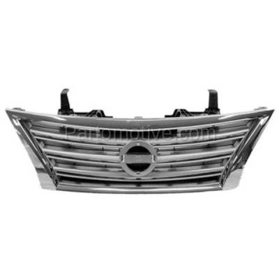 Aftermarket Replacement - GRL-2296C CAPA Front Grill Grille Chrome Silver NI1200252 623103SH0A Fits 13-15 Sentra - Image 1