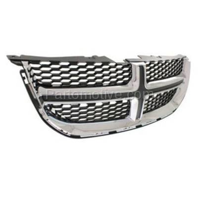 Aftermarket Replacement - GRL-1331C CAPA 11-15 Grand Caravan Front Grill Grille Chrome w/Black Insert 68088969AC - Image 2