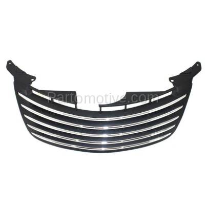 Aftermarket Replacement - GRL-1298C CAPA 06-10 PT Cruiser Front Grill Grille Black w/Chrome Molding 5179089AB - Image 3