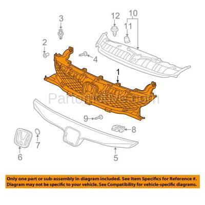 Aftermarket Replacement - GRL-1852C CAPA 09 10 11 Accord Sedan & Hybrid Front Grill Grille HO1200198 71121SNAA50 - Image 3