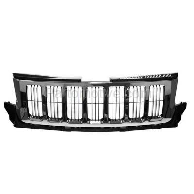 Aftermarket Replacement - GRL-1330C CAPA 11-13 GR. Cherokee Front Grill Grille Chrome w/Black Insert 55079377AE - Image 1