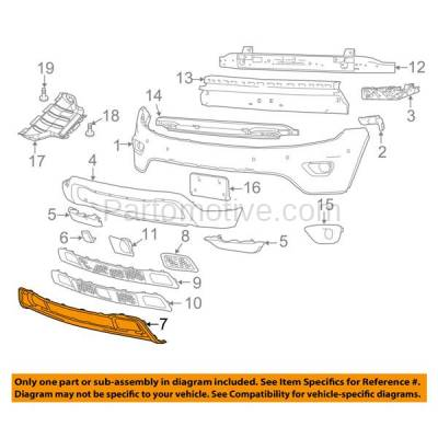 Aftermarket Replacement - GRL-1225C CAPA 14-15 Grand Cherokee Front Bumper Face Bar Frame Grill Grille CH1037107 - Image 3