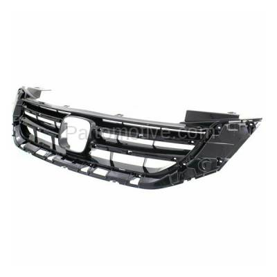 Aftermarket Replacement - GRL-1868C CAPA 13 14 15 Accord V6 Sedan Front Grill Grille Black HO1200215 71121T2FA11 - Image 2