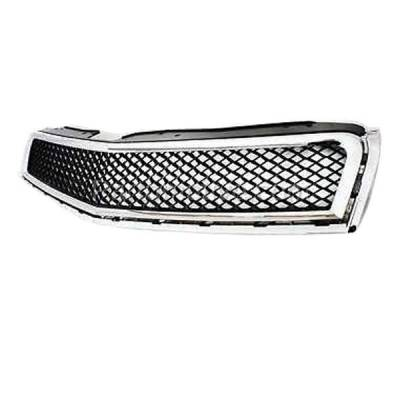 Aftermarket Replacement - GRL-1753C CAPA 09-12 Chevy Traverse Front Grill Grille Chrome Black GM1200615 15943196 - Image 2