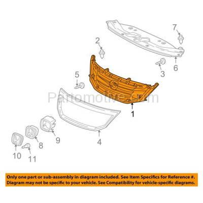 Aftermarket Replacement - GRL-1848C CAPA 08-10 Odyssey Front Face Bar Grill Grille Black HO1200190 71121SHJA02 - Image 3