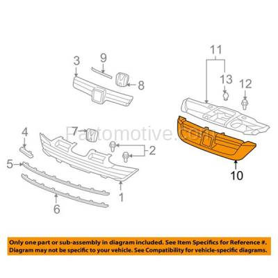 Aftermarket Replacement - GRL-1846C CAPA 07 08 09 CRV Front Upper Face Bar Grill Grille HO1200186 71128SWA003ZA - Image 3