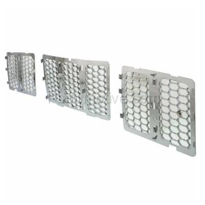 Aftermarket Replacement - GRL-1344C CAPA 14-15 GR. Cherokee Front Chrome Grill Grille Insert 3-Piece 68143075AB - Image 2