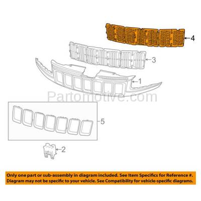 Aftermarket Replacement - GRL-1344C CAPA 14-15 GR. Cherokee Front Chrome Grill Grille Insert 3-Piece 68143075AB - Image 3