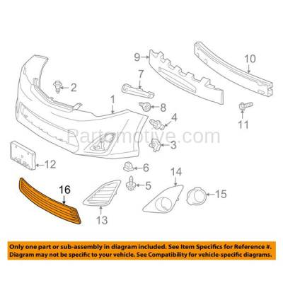 Aftermarket Replacement - GRL-2390C CAPA 12-14 Camry Front Lower Bumper Grill Grille Black TO1036128 5311206200 - Image 3