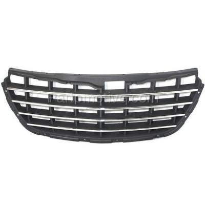 Aftermarket Replacement - GRL-1290C CAPA 04-06 Pacifica Front Gray Grill Grille Chrome Trim CH1200277 4857625AB - Image 1