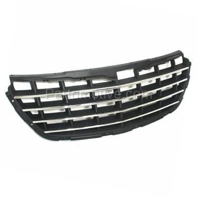 Aftermarket Replacement - GRL-1290C CAPA 04-06 Pacifica Front Gray Grill Grille Chrome Trim CH1200277 4857625AB - Image 2