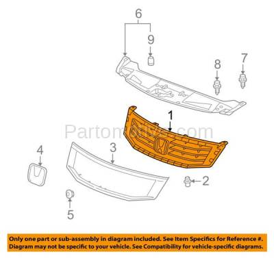 Aftermarket Replacement - GRL-1847C CAPA 08 09 10 Accord Sedan Front Face Bar Grill Grille HO1200189 71121TA0A00 - Image 3