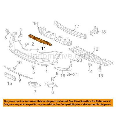 Aftermarket Replacement - GRL-2217C CAPA Front Lower Bumper Grill Grille NI1036102 622544BA0A For 14 15 16 Rogue - Image 3