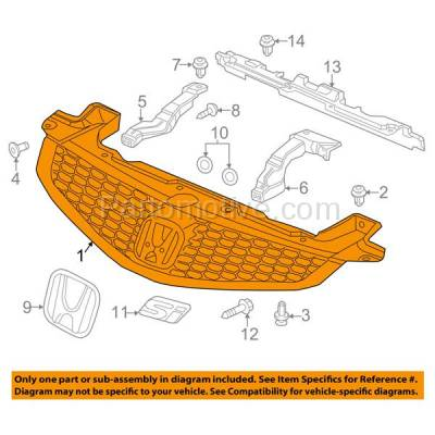 Aftermarket Replacement - GRL-1863C CAPA 12-13 Civic Coupe 2DR Front Face Bar Grill Grille HO1200209 71121TS8A01 - Image 3