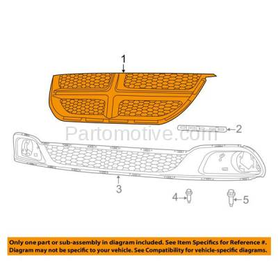 Aftermarket Replacement - GRL-1329C CAPA 11-15 Grand Caravan Front Grill Grille Black Shell & Insert 68100689AC - Image 3
