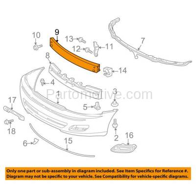 Aftermarket Replacement - BRF-1795FC 2000-2004 Toyota Avalon XL/XLS (Sedan 4-Door) (3.0 Liter Engine) Front Bumper Impact Face Bar Crossmember Reinforcement Primed Steel - Image 3