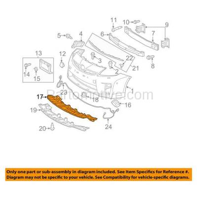 Aftermarket Replacement - ESS-1613C CAPA For 10-11 Prius Front Engine Splash Shield Under Cover Guard 5261847010 - Image 3