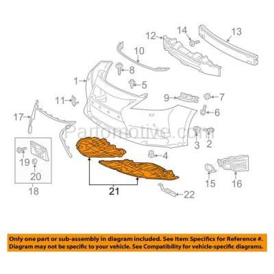 Aftermarket Replacement - ESS-1380RC 2013-2015 Lexus ES300h & ES350 (2.5 & 3.5 Liter) Front Engine Under Cover Splash Shield Undercar Guard Plastic Right Passenger Side - Image 3