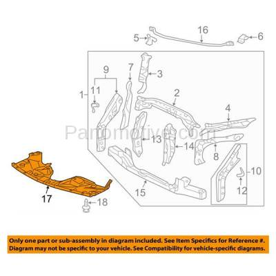 Aftermarket Replacement - ESS-1264C CAPA For 05-10 Odyssey Front Engine Splash Shield Under Cover Guard 74111SHJA02 - Image 3