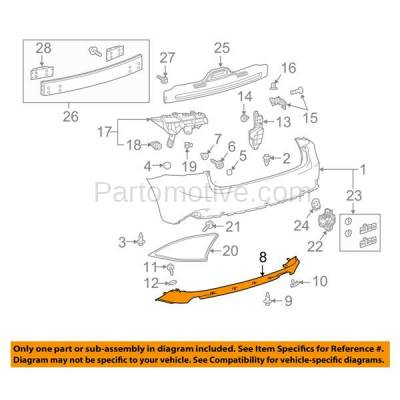 Aftermarket Replacement - VLC-1289R 2014-2016 IS200t, IS250, IS300, IS350 (Base & F Sport) Rear Lower Bumper Cover Spoiler Valance Air Dam Deflector Apron Garnish Panel - Image 3