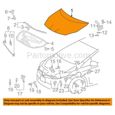 Aftermarket Replacement - HDD-1708 2010-2015 Toyota Prius & 2012-2015 Prius Plug-In (Base, One, Two, Three, Four, Five) 1.8L Front Hood Panel Assembly Primed Aluminum - Image 3