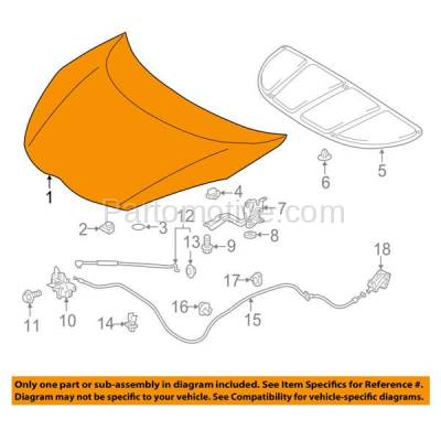 Aftermarket Replacement - HDD-1718 2012-2017 Toyota Prius C (Hatchback 4-Door) 1.5 Liter Electric/Gas Engine Front Hood Panel Assembly Primed Steel - Image 3