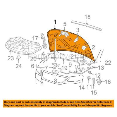 Aftermarket Replacement - HDD-1746 2006-2010 Volkswagen VW Passat (Sedan & Wagon) 2.0 & 3.6 Liter Engine Front Hood Panel Assembly Primed Steel - Image 3