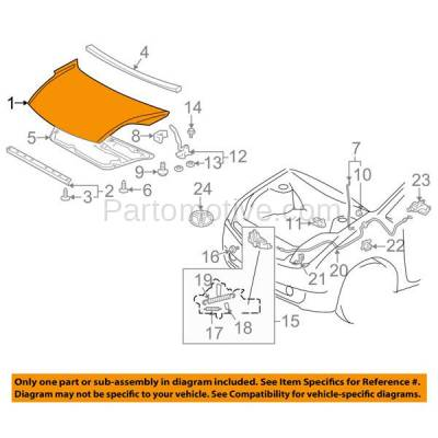 Aftermarket Replacement - HDD-1691 2004-2009 Toyota Prius (Base, Touring) Hatchback 4-Door (1.5 Liter Electric/Gas Engine) Front Hood Panel Assembly Primed Aluminum - Image 3