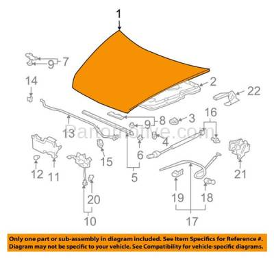 Aftermarket Replacement - HDD-1346 2003-2007 Honda Accord (DX, EX, Hybrid, LX, Special Edition, Value Package) Sedan 4-Door Front Hood Panel Assembly Primed Steel - Image 3