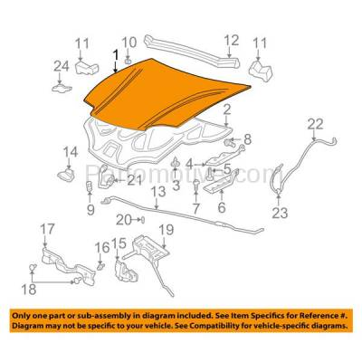Aftermarket Replacement - HDD-1260 2003-2005 Chevy Cavalier (Base, LS) 2.2L (Coupe & Sedan) Front Hood Panel Assembly Primed Steel - Image 3
