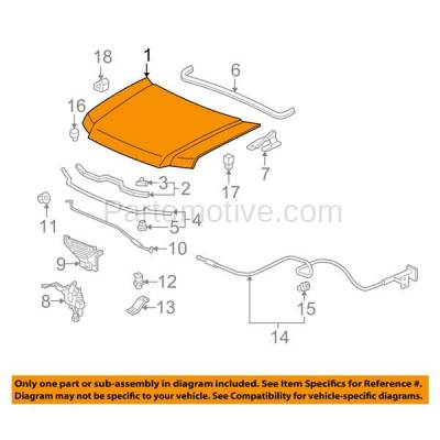 Aftermarket Replacement - HDD-1353 2006-2014 Honda Ridgeline (DX, EX-L, RT. RTL,RTS, RTX, SE, Sport, Touring, VP) Crew Cab Pickup 4-Door Front Hood Panel Assembly Primed Steel - Image 3