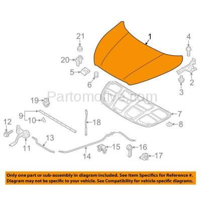 Aftermarket Replacement - HDD-1408 2011-2016 Hyundai Elantra (GL, GLS, GS, L, Limited, SE, Sport, Value Edition) Sedan (Models Made In Korea Or USA) Front Hood Panel Assembly Primed Steel - Image 3