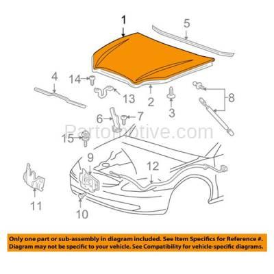 Aftermarket Replacement - HDD-1166 2000-2007 Ford Taurus (LX, SE, SE Comfort, SEL, SES, SVG) Sedan & Wagon 3.0L Front Hood Panel Assembly Primed Steel - Image 3