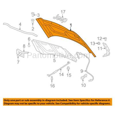 Aftermarket Replacement - HDD-1127 2011-2017 Jeep Compass (Sport Utility 4-Door) Front Hood Panel Assembly Primed Steel - Image 3