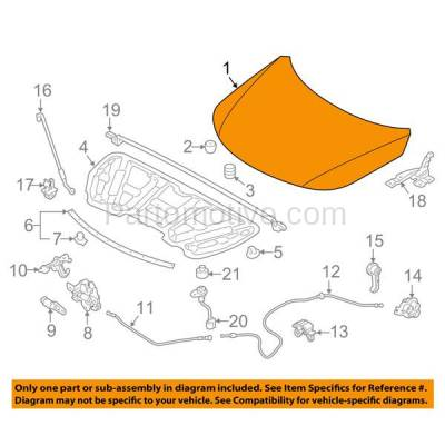 Aftermarket Replacement - HDD-1446 2011-2015 Kia Sorento (Base, EX, Limited, LX, SX) Sport Utility 4-Door (2.4 & 3.3 & 3.5 Liter Engine) Front Hood Panel Assembly Primed Steel - Image 3