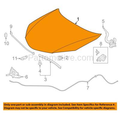 Aftermarket Replacement - HDD-1722 2014-2018 Toyota Corolla Sedan 4-Door (1.8 Liter Engine) Front Hood Panel Assembly Primed Steel - Image 3