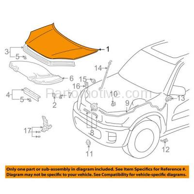 Aftermarket Replacement - HDD-1682 2001-2005 Toyota RAV4 RAV-4 (Base & L) Sport Utility 4-Door (2.0 & 2.4 Liter Engine) (without Scoop Type) Front Hood Panel Assembly Primed Steel - Image 3