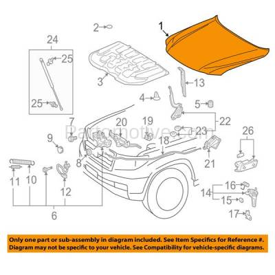 Aftermarket Replacement - HDD-1467 2008-2015 Lexus LX570 (Sport Utility 4-Door) 5.7L (5.7 Liter V8 Engine) Front Hood Panel Assembly Primed Steel - Image 3