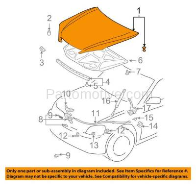 Aftermarket Replacement - HDD-1680 2002-2006 Toyota Camry (Base, LE, SE, XLE) Sedan 4-Door (2.4 & 3.0 & 3.3 Liter Engine) Front Hood Panel Assembly Primed Steel - Image 3