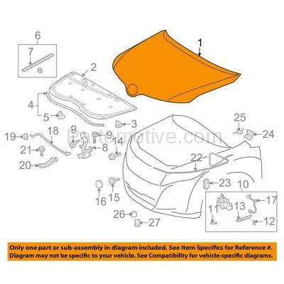 Aftermarket Replacement - HDD-1707 2009-2016 Toyota Venza (AWD, Base, LE, Limited, V6, XLE) Sport Utility 4-Door (2.7 & 3.5 Liter Engine) Front Hood Panel Assembly Primed Steel - Image 3