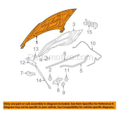 Aftermarket Replacement - HDD-1098 2005-2010 Jeep Grand Cherokee (Laredo, Limited, North, Overland, S Limited, SRT8) Front Hood Panel Assembly Primed Aluminum - Image 3