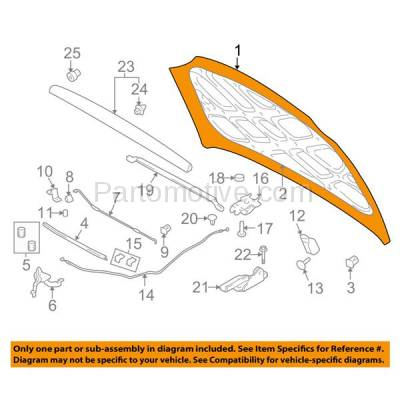 Aftermarket Replacement - HDD-1395 2004-2006 Hyundai Elantra (GLS, GT, Limited) 2.0 Liter Engine (Hatchback & Sedan) Front Hood Panel Assembly Primed Steel - Image 3