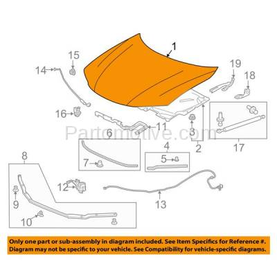 Aftermarket Replacement - HDD-1374 2013-2017 Honda Accord (EX, EX-L, LX-S, Touring) Coupe 2-Door (2.4 Liter Engine) Front Hood Panel Assembly Primed Steel - Image 3