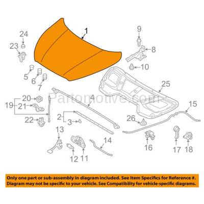 Aftermarket Replacement - HDD-1404 2010-2015 Hyundai Tucson (GL, GLS, L, Limited, SE) Sport Utility 4-Door (2.0 & 2.4 Liter Engine) Front Hood Panel Assembly Primed Steel - Image 3