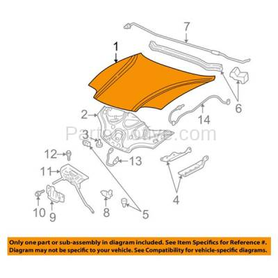 Aftermarket Replacement - HDD-1259 2003-2005 Pontiac Sunfire (Base, GT, SE) 2.2 Liter Engine (Coupe & Sedan) Front Hood Panel Assembly Primed Steel - Image 3