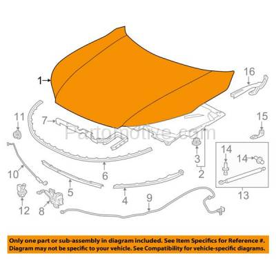 Aftermarket Replacement - HDD-1385 2016-2017 Honda Accord (EX, EX-L, LX, SE, Sport, Touring) Sedan 4-Door (2.4 Liter Engine) Front Hood Panel Assembly Primed Aluminum - Image 3
