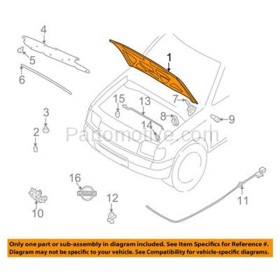 Aftermarket Replacement - HDD-1566 2002-2004 Nissan Xterra (SE, XE) Sport Utility 4-Door (2.4 & 3.3 Liter Engine) Front Hood Panel Assembly Primed Steel - Image 3