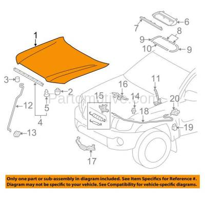 Aftermarket Replacement - HDD-1715 2012-2015 Toyota Tacoma Pickup Truck (Models without Hood Scoop & Turbo Hole) Front Hood Panel Assembly Primed Steel - Image 3