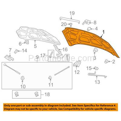 Aftermarket Replacement - HDD-1285 2007-2011 Chevy Aveo (LS, LT) Sedan 4-Door (1.6 Liter Engine) Front Hood Panel Assembly Primed Steel - Image 3