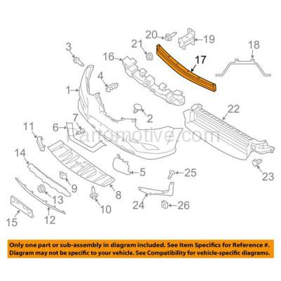 Aftermarket Replacement - BRF-1701FC 2014-2019 Nissan Rogue (S, SL, SV & Hybrid Models) (excluding Select) Front Bumper Impact Face Bar Crossmember Reinforcement Steel - Image 3